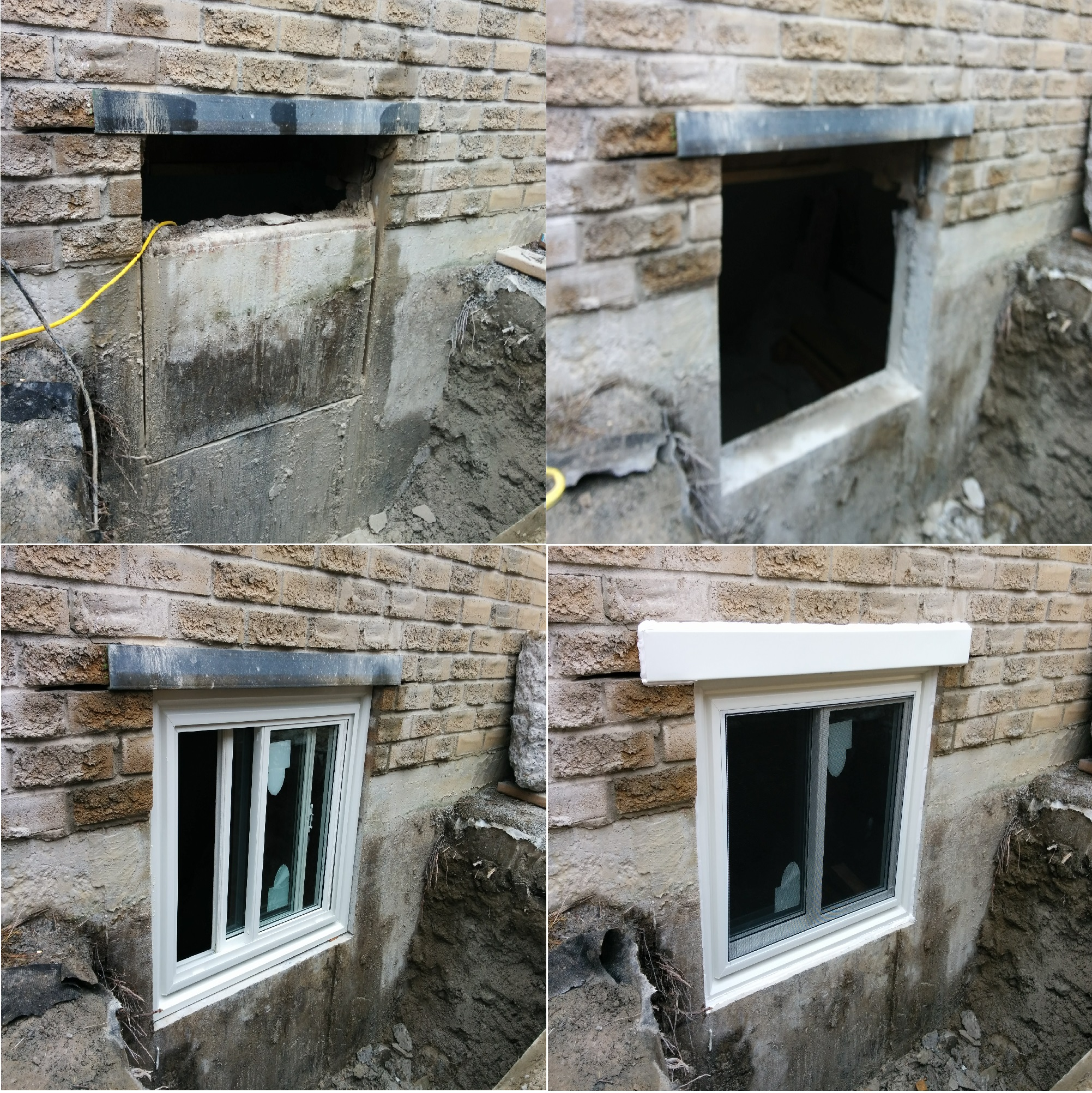 This job is egress basement window. Required to cut concrete foundation, cut brick, brick lintel installation, egress window installation, aluminum flashing capping.
