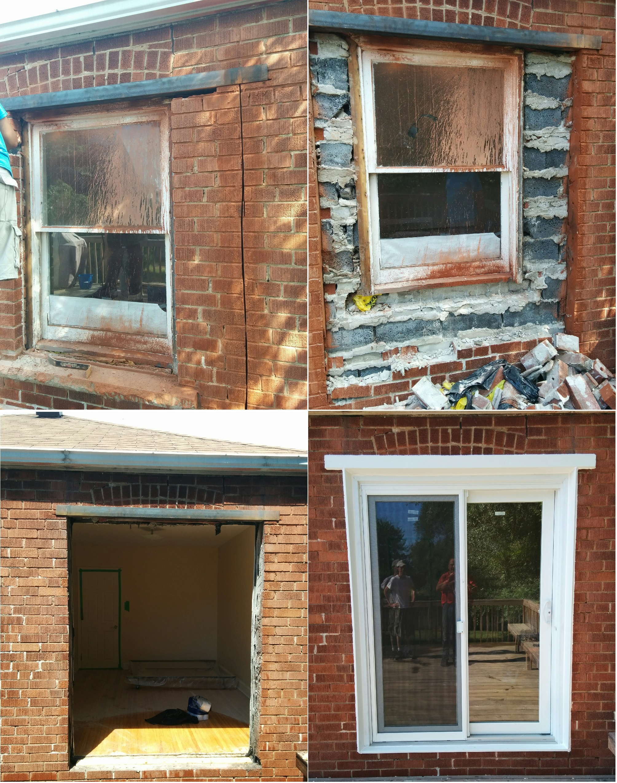 Cut our brick and block. Install a metall Lintel to create a new doorway in an existing brick and block wall. Double brick. Sliding door installation. Aluminum flashing