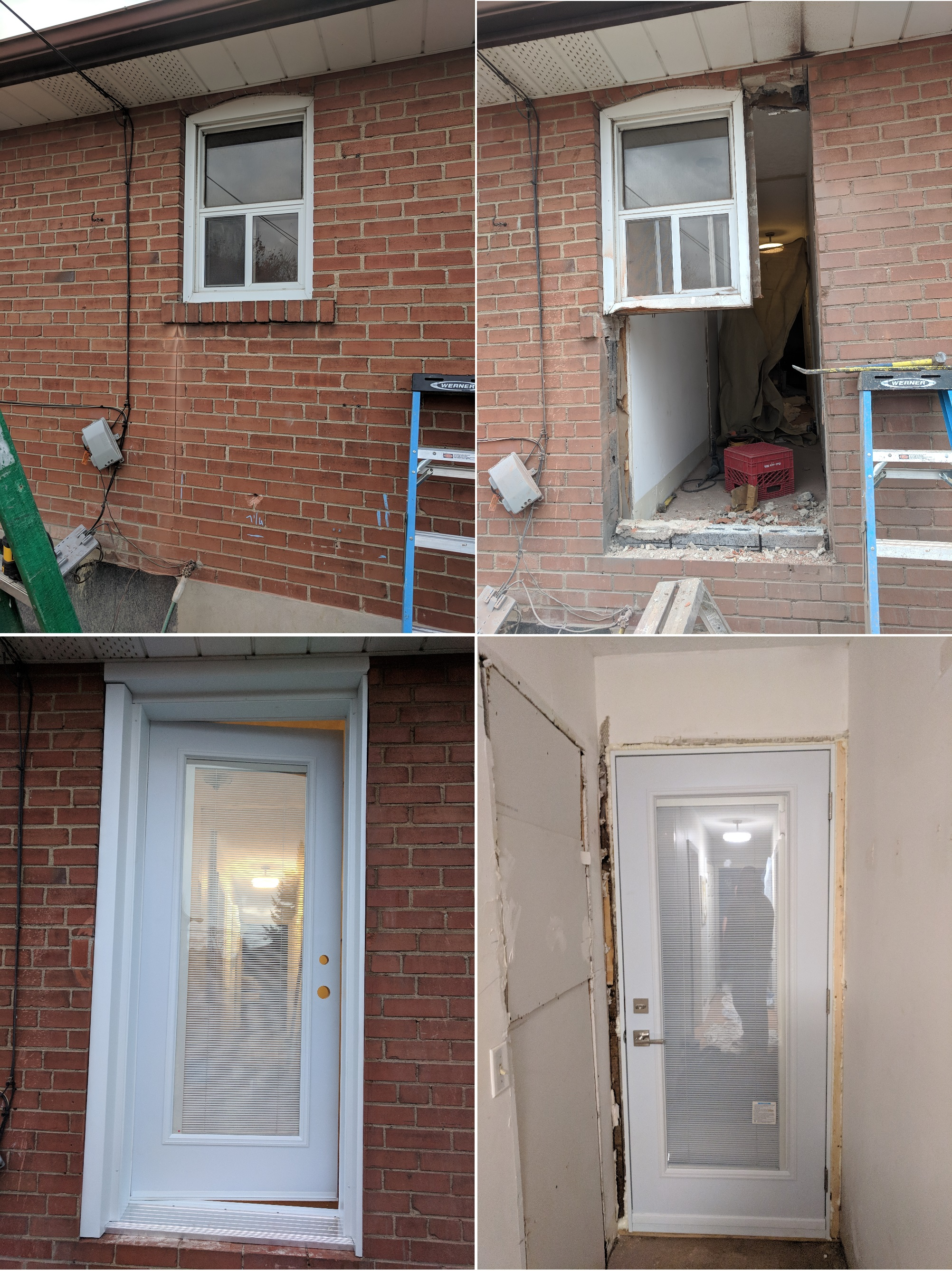 Cutting a brick. Converting an existing window into a single inswing patio door. Cut brick, aluminum capping flashing outside. No casing inside. Patio door with internal (tilt and lift) mini blinds.