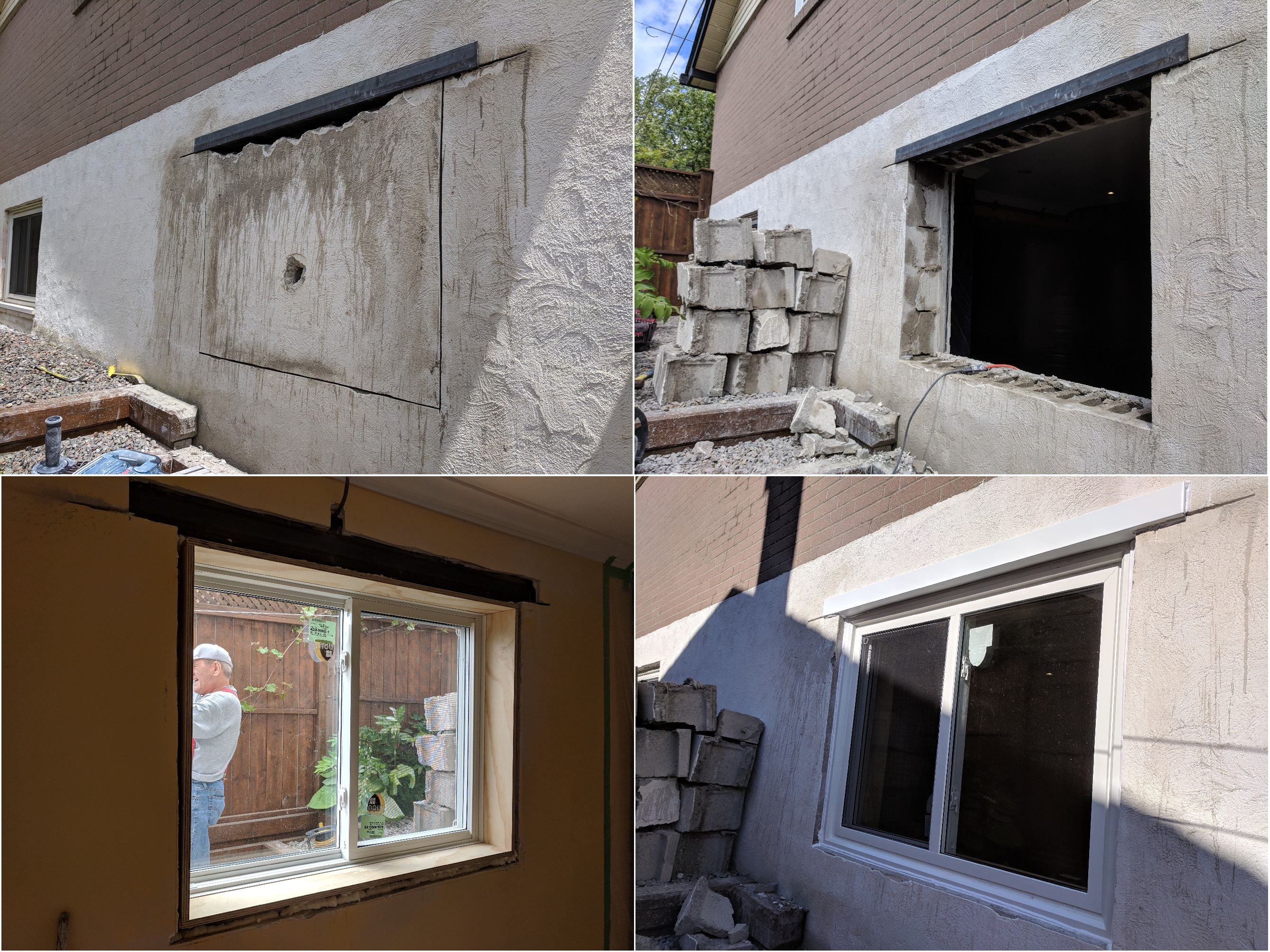 Basement egress window. Cutting a new window opening. Cement concrete foundation blocks cutting. Foundation cutting. Double lintel installation (inside lintel and outside lintel). Double sliding window installation.  Aluminum capping flashing.