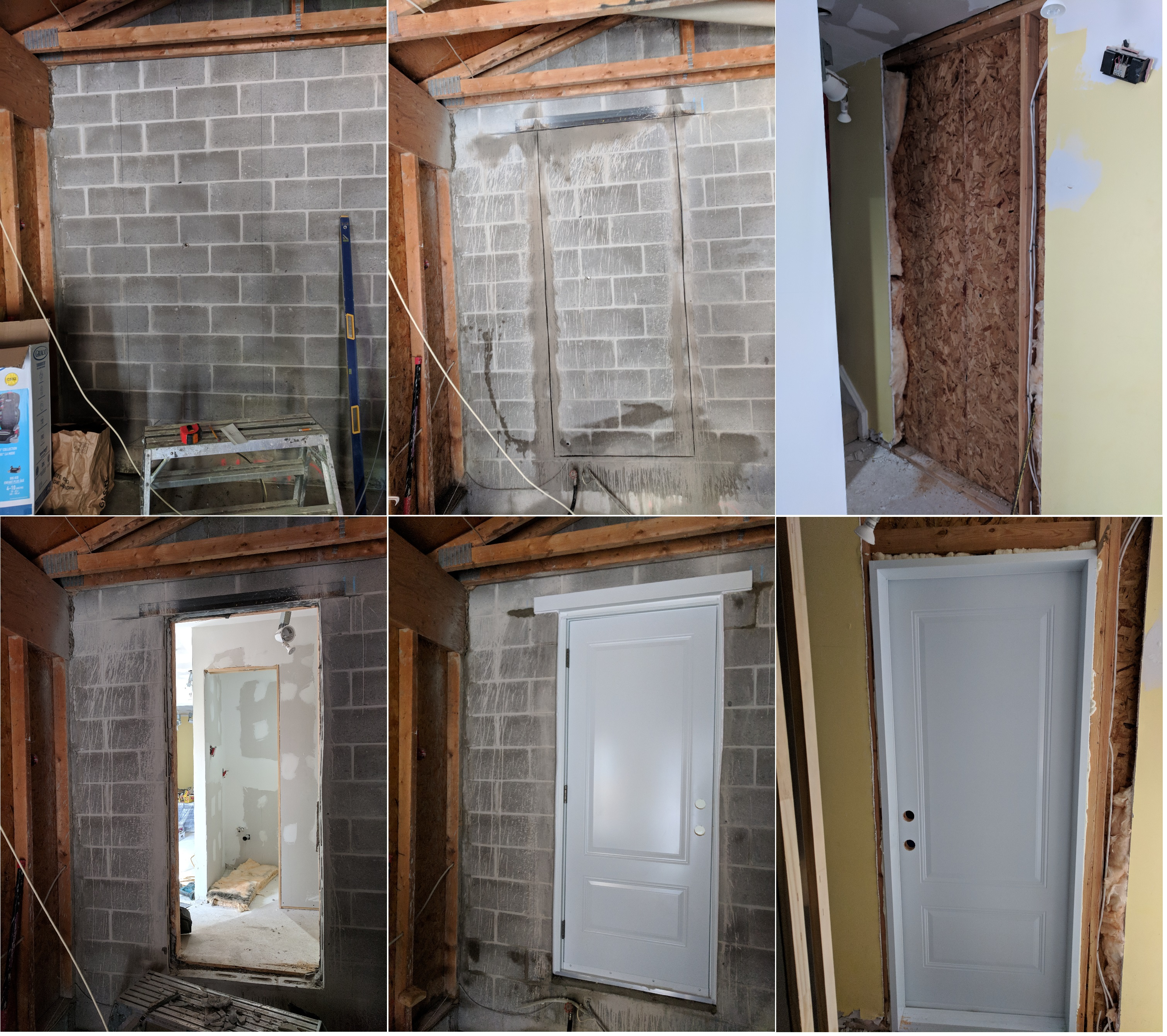 Garage to the house entrance. Separate entrance. Make a new wall opening for a door. Concrete cement blocks cutting. Lintel installation. When I open a drywall run into electrical. Had to move the door sideways. Door installation. Capping flashing outside.